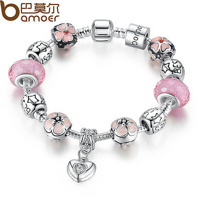 DIY European Silver Bracelet With Best Bamoer LOVE Charms Murano Beads For Women
