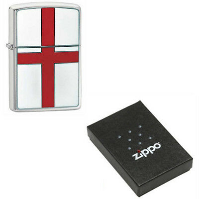 Official Zippo 200E Brushed Crome English Flag Emblem Lighter In Box