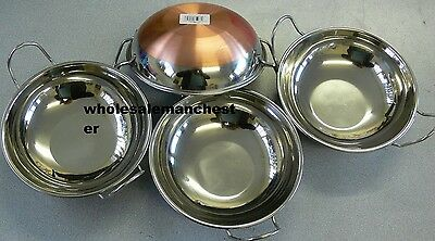 4 x  Stainless Steel Balti Curry Dish  Kadahi Round Serving Dish Copper Bottome