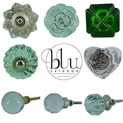 Vintage Glass Door Knobs Retro Shabby Chic Pull Handles Drawer Cupboard
