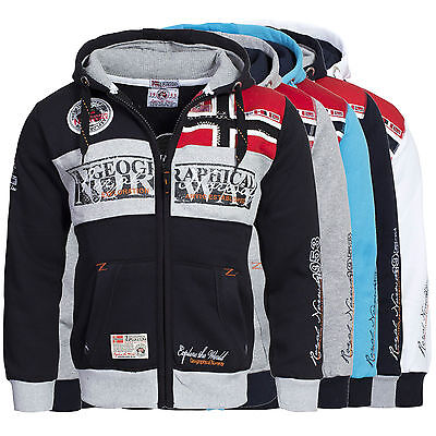 Felpa GEOGRAPHICAL NORWAY Uomo Men Fleece Full Zip Anapurna cappuccio Flyer new
