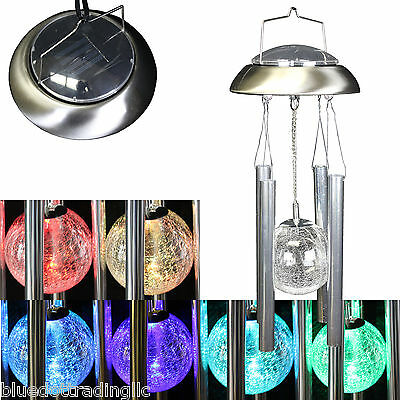 SHIPS FROM USA! Solar Powered LED Wind Chime Windchime Outdoor Garden Courtyard