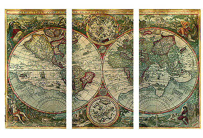 """Old World Atlas Latin Maps Flags CANVAS WALL ART PICTURE - 3 PANELS 41"""" X 26"""""""