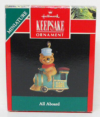 VINTAGE! 1991 Hallmark Keepsake Miniature Ornament All Aboard-QXM5869