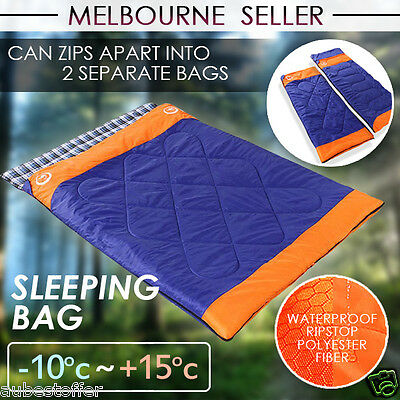 Double Outdoor Camping Envelope Twin Sleeping Bag Thermal Tent Hiking Winter