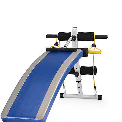 STO Fitness Gym 1.4M Adjustable Sit up Bench Board+Pull Rope Spring Booster