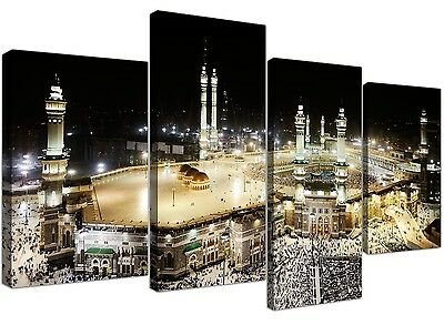 Islamic Canvas Pictures of Mecca Kaaba at Hajj for your Bedroom - Set of 4 Moder