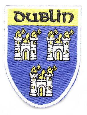 Irish Dublin County Crest Shield Embroidered Sew-on Cloth Badge Patch Appliqué