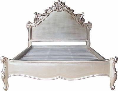 6' Super King Size Versailles Carved Bird Bed Mahogany Antique Silver B031S