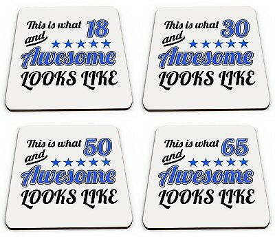 This Is What Age 13 - 100 And Awesome Looks Like Glossy Mug Coasters - Blue