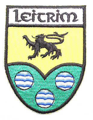 Irish Leitrim Crest Shield Embroidered Iron / Sew-on Cloth Badge Patch Appliqué
