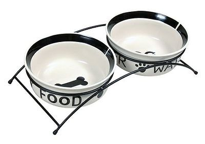 x2 Ceramic Dog Bowls with Black Stand Eat on Feet Water & Food Design 15cm Bowls