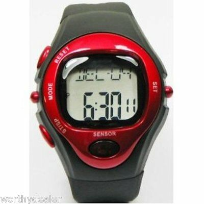 Sports Exercise Fitness Watch Heart Rate Pulse Monitor Calorie Red and Black