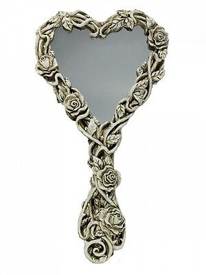 Alchemy Gothic Fate of Narcissus Skull & Roses Heart Cream Resin Hand Mirror. Fr