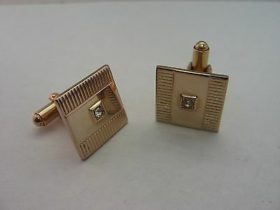 Gorgeous Vintage Made in USA Clear Jewel Gold Tone Mens Cufflinks Jewelry