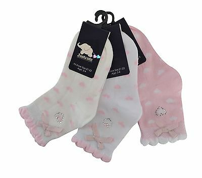 Girls kids toddlers socks hearts diamonds & bows 3 pairs luxury pearl cotton