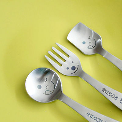 Tableware Toddler Child Stainless Lovely Cute Fork Icecream Soup Spoon 3 pcs Set