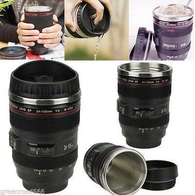24-105mm Stainless Lens Camera Travel Coffee Tea Mug Cup Water Bottle