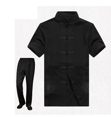 Brand Chines​​e Men's Short Sleeve Kung Fu Sets Suits Shadowboxing Costum M-4XL