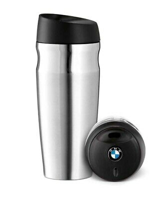 BMW Genuine Thermo Mug Thermos Travel Cup Logo On Cap Silver Black 80562211967