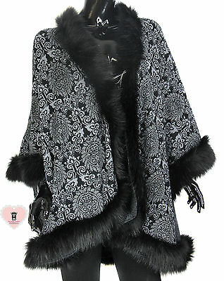 Alex Max Wrap with Faux Fur Trim - Black - From Florence, Italy