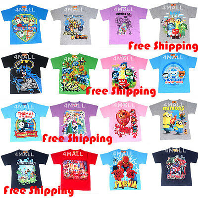 Kids Boys Girls Teen Short Sleeve Cotton Tee T-shirt Top Summer Shirt Outfit Sz