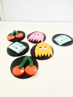 12 Edible Cake / Cup Cake toppers Atari Pacman 80 s M Tv Casette Tape Rubix Cube