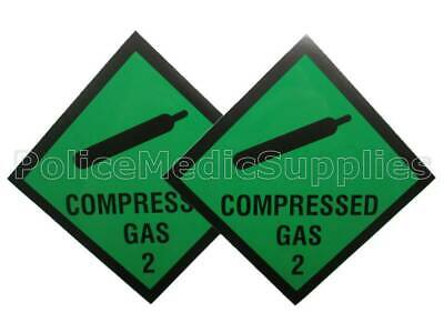 2 x Compressed Gas Vehicle Sticker Ambulance,Paramedic,First Responder,  UK Made