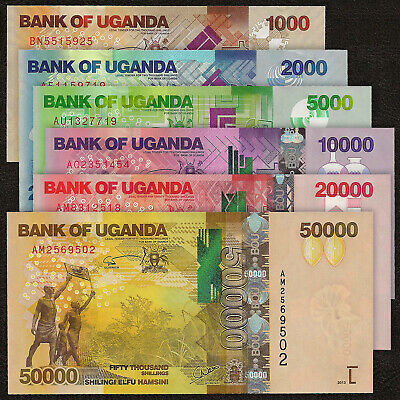 Uganda Set 6 Pcs 1000-50000 Shillings, 2010-13, P 49 50 51 52 53 54, Unc