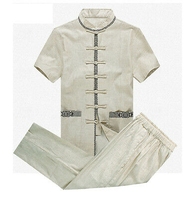 New Brand Chinese Men's Cotton Linen Short Sleeve Kung Fu Sets Suits  M-4XL