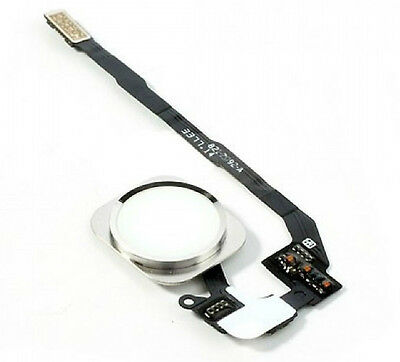 iPhone 5S White & Silver Home Button With Flex Cable Genuine Replacement