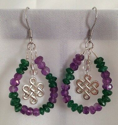 Feng Shui ~ Amethyst & Green Aventurine Prosperity Charm Handmade Earrings