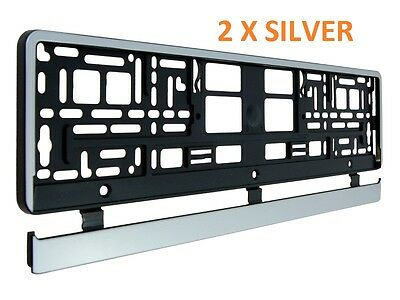 2 X Silver Number  Plate Surrounds Holder Frame