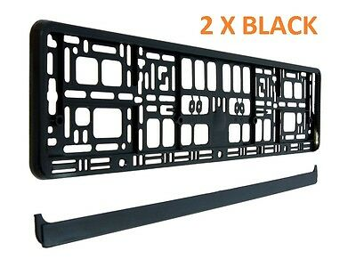 2 X Black Number  Plate Surrounds Holder Frame