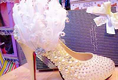 Sparkling Pearl Wedding Bridal White Feather Fur Shoe Clips Charm Pair
