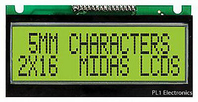 Midas   Mc21605F6We-Sptly   Lcd, 2X16, Stn, Ylw/green B/l, 5Mm