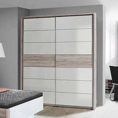 schwebet renschrank in sandeiche wei hochglanz rondino schrank mit led 270 cm eur 549 00. Black Bedroom Furniture Sets. Home Design Ideas