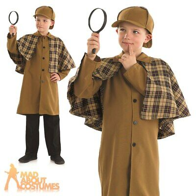 Boys Sherlock Holmes Costume Child Victorian Detective Fancy Dress Outfit New