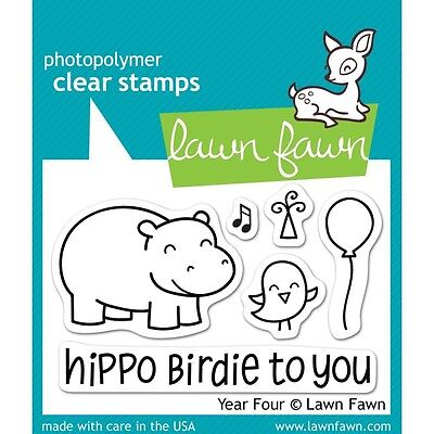 Lawn Fawn Clear Stamps 7.6cm x 5.1cm -Year Four. Free Shipping