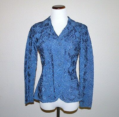 1940s to 50s Blue Caledonia Ribbon Knit Jacket size S to M