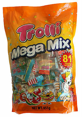 Trolli Mega Mix 81 Pieces Bag 851g Candy Gummy Lollies Sweets Buffet Favors New