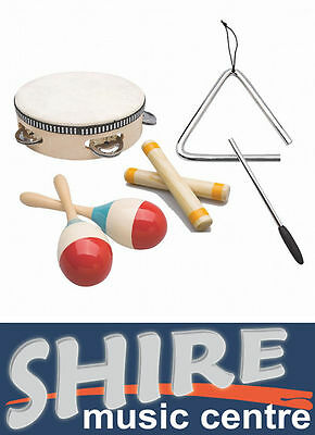 Ashton Kids Percussion Pack - Drum, Triangle, Maracas and Clapping Sticks PSET1