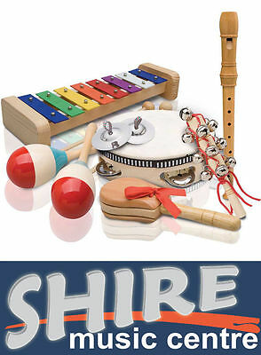 Ashton Kids Percussion Pack - Drum, Xylophone, Maracas, Recorder, Cymbals PSET3