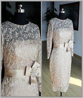 2016 Champagne Vintage Lace Mother of the Bride Dresses Short Evening Gowns