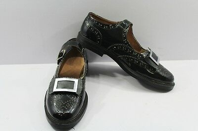 Piper & Drummer Ghillie Brogues Bow Tie Buckle Shoes Black Patent Leather.