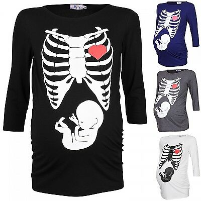 Happy Mama Woman's Maternity Halloween Baby Skeleton Ribs Print T-shirt Top 615p