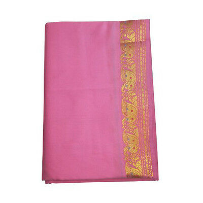 Sari Rose clair Brocat Doré Robe traditionnelle indienne + Instructions + Bindis