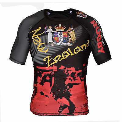 Rugby New Zealand Rash Guard - Rashguard Short Sleeve  - World Cup 6 Nation Cup