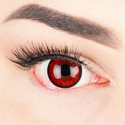 "Coloured Contact Lenses Red ""Demon"" Contacts for Carnival + Free Case"