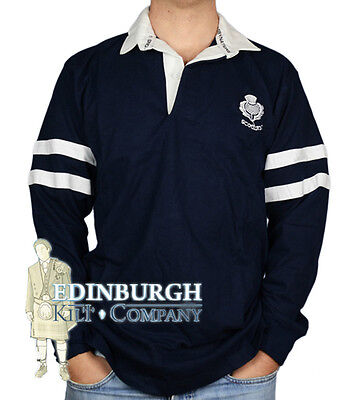Long Sleeve Cotton Rugby Shirt - Scotland 2-Stripe Design  - Size Options!